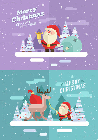 Merry christmas. Santa and Deer. Vector winter illustration. Eps 10