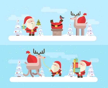 renos de navidad: Feliz Navidad. vector de fondo de invierno. Santas establecen