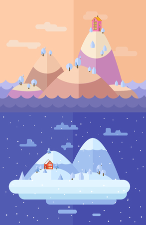 christmas time: Winter nature.  Christmas time. Vector flat illustrations
