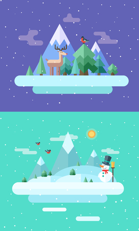 animal time: Winter nature.  Christmas time. Vector flat illustrations