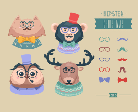 pussy: Christmas hipster animals. Vector illustration