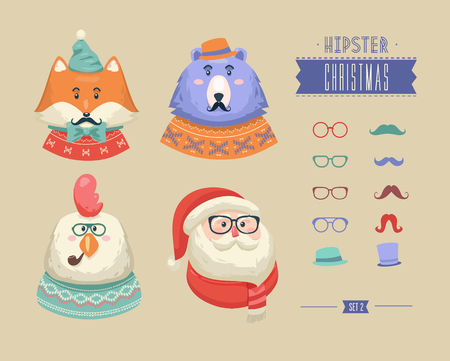 hipster: Christmas hipster animals. Vector illustration