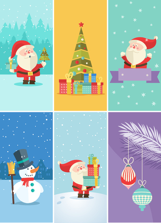 Set of Christmas and New Year greeting cards.