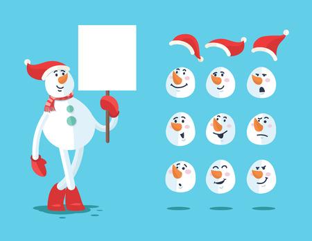 snowman: Funny snowman. Cartoon vector set.