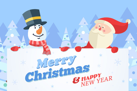 fun background: Snowman and Santa with banner. Christmas vector background.
