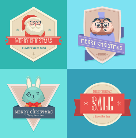 shoppers: Christmas hipster animals. Sale card. Vector illustration