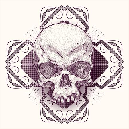 deaths: One engraving skulls with modern street style background. Vector skulls illustration Illustration