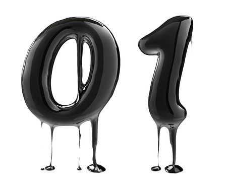 letras negras: Número 0 cero 1 una. Alfabeto de aceite aislado más de blanco. Negro alfabeto salpicaduras de líquidos.