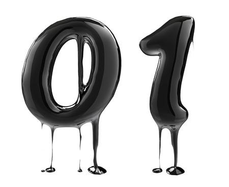 dripping: Number 0 zero 1 one. Oil alphabet isolated over white. Black liquid splash alphabet.