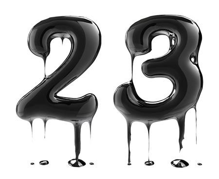 over black: Number 2 two 3 three. Oil alphabet isolated over white. Black liquid splash alphabet.