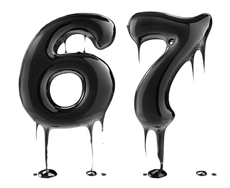 Number six 6 sevem 7 . Oil alphabet isolated over white. Black liquid splash alphabet.
