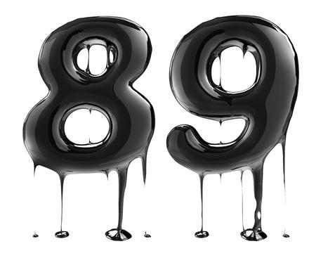 Number six eight 8 nine 9. Oil alphabet isolated over white. Black liquid splash alphabet.