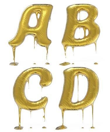 black liquid: Letter A B C D. Oil alphabet isolated over white. Black liquid splash alphabet.