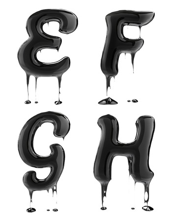 liquid: Letter E F G H. Oil alphabet isolated over white. Black liquid splash alphabet.