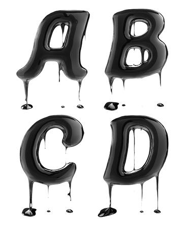 vasos de agua: Letra del alfabeto de ABC D. petróleo aislado sobre blanco. alfabeto salpicaduras de líquido negro.