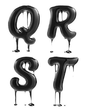 Letter Q R S T. Oil alphabet isolated over white. Black liquid splash alphabet.