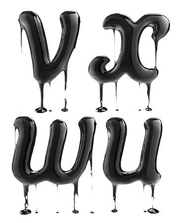 liquid x: Letter V U X W. Oil alphabet isolated over white. Black liquid splash alphabet.