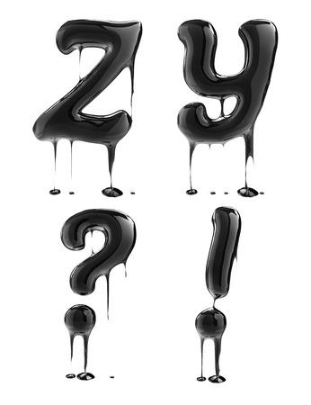 fonts 3d: Letter Z Y. Oil alphabet isolated over white. Black liquid splash alphabet.