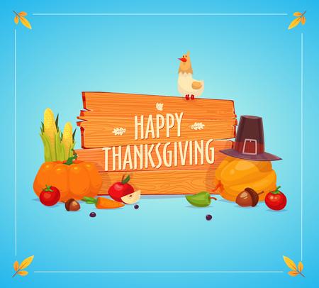 tarta de manzana: Feliz d�a de acci�n de gracias. Conjunto de coloridos iconos de dibujos animados para el d�a de acci�n de gracias celebraci�n, se puede utilizar como folleto, cartel o banner. Vectores