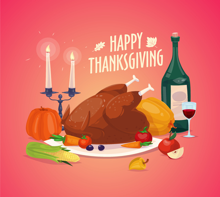 cartoon dinner: Happy thanksgiving day. Set of colorful cartoon icons for thanksgiving day celebration, can be use as flyer, poster or banner. Illustration