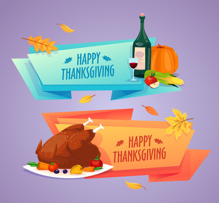 cartoon bottle: Happy thanksgiving day. Set of colorful cartoon icons for thanksgiving day celebration, can be use as flyer, poster or banner. Illustration