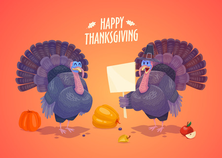 smile happy: Happy thanksgiving day. Set of colorful cartoon icons for thanksgiving day celebration, can be use as flyer, poster or banner. Illustration