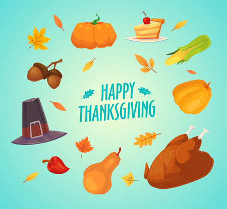 elote caricatura: Happy thanksgiving day. Set of colorful cartoon icons for thanksgiving day celebration, can be use as flyer, poster or banner. Vectores