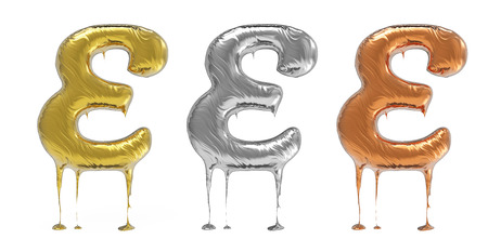 chrom: 3d rendering of the letter E in gold, silver, bronze metal with drops on a white isolated background. Stock Photo