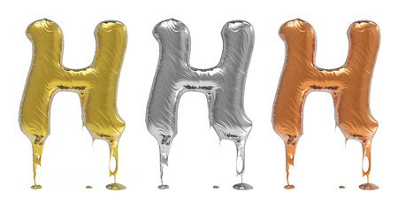 chrom: 3d rendering of the letter H in gold, silver, bronze metal with drops on a white isolated background.