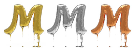 chrom: 3d rendering of the letter M in gold, silver, bronze metal with drops on a white isolated background.