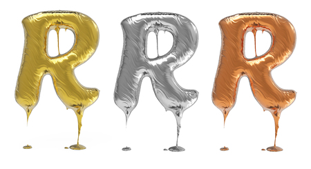 gold metal: 3d rendering of the letter R uppercase in gold, silver, bronze metal with drops on a white isolated background.
