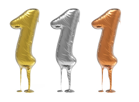 artistic: 3d rendering of the number 1 in gold  liquid metal on a white isolated background. Stock Photo