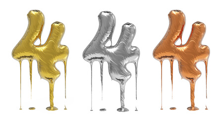 liquid metal: 3d rendering of the number 4 in gold  liquid metal on a white isolated background.