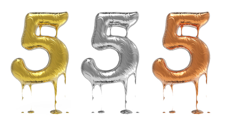 liquid metal: 3d rendering of the number 5 in gold  liquid metal on a white isolated background.