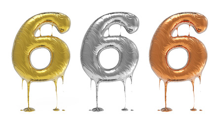 liquid metal: 3d rendering of the number 6 in gold  liquid metal on a white isolated background. Stock Photo