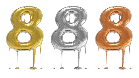 liquid metal: 3d rendering of the number 8 in gold  liquid metal on a white isolated background. Stock Photo