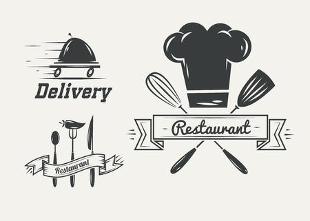 빈티지 복고풍 레스토랑과 카페 로고 배지 및 레이블의 컬렉션