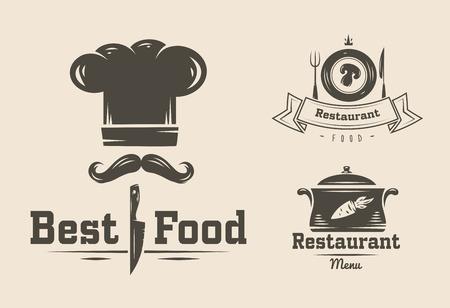 logo de comida: Colección de restaurante y cafetería logo insignias y etiquetas retro vendimia Vectores