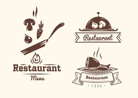 saludable logo: Colección de restaurante y cafetería logo insignias y etiquetas retro vendimia Vectores
