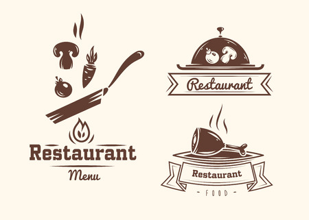 eat healthy: Collection of vintage retro restaurant and cafe logo badges and labels