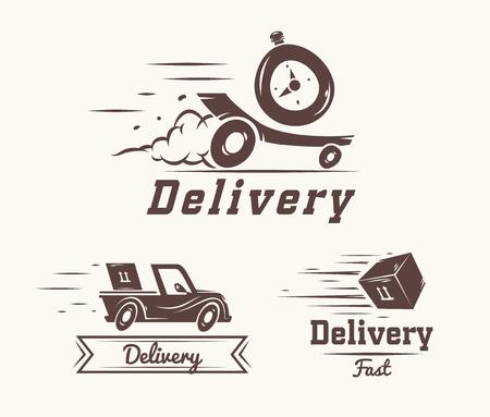 Reloj Turbo logotipo icónico diseño de la plantilla para el servicio de entrega. ilustración vectorial de volar coche reactiva, caja y reloj aislados sobre fondo blanco Logos