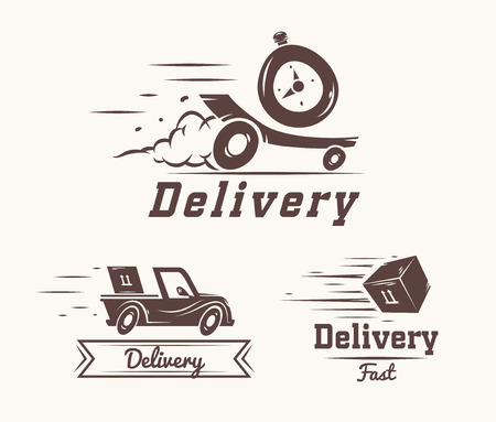 merchandise: Turbo watch iconic logo design template for delivery service. vector illustration of flying reactive car, box and watch isolated on white background
