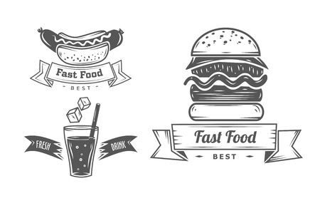 Burger icons, labels, signs, symbols and design elements. Vector collection of fast food badges. Çizim