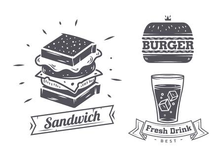 ハンバーガー、サンドイッチとホットドッグのアイコン、ラベル、サイン、シンボルおよびデザイン要素。ベクトル ファーストフード バッジのコレ