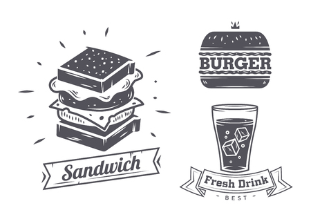 stickers: Burger, sandwich and hotdog icons, labels, signs, symbols and design elements. Vector collection of fast food badges.