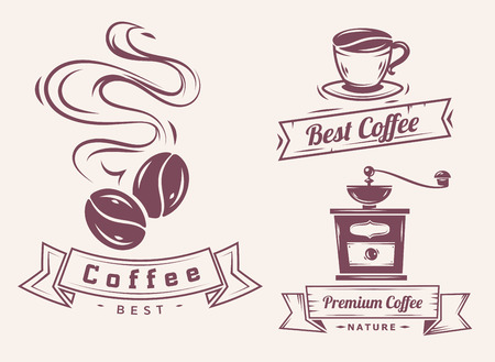 ベクトル コーヒーとコーヒーの付属品図のセットは、プレミアム品質のロゴやアイコンとして使用できます。