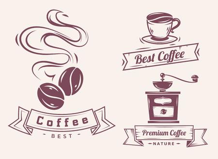 grano de cafe: Vector conjunto de elementos de café y accesorios Cafetera ilustración se puede utilizar como logotipo o icono de primera calidad Vectores