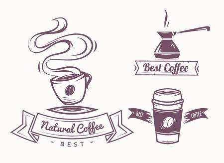 sello: Conjunto de vector de caf� Elementos y accesorios de caf� ilustraci�n se puede utilizar como icono de primera calidad Foto de archivo