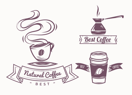 stamp: Set of Vector Coffee Elements and Coffee Accessories Illustration can be used as Icon in premium quality
