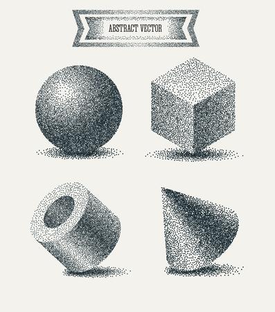 Dotwork éléments géométriques. Vintage cube Gravé, boule, cylindre, pyramide. Vector Illustration. Résumé de fond moderne géométrique. Vector illustration. Polka dots